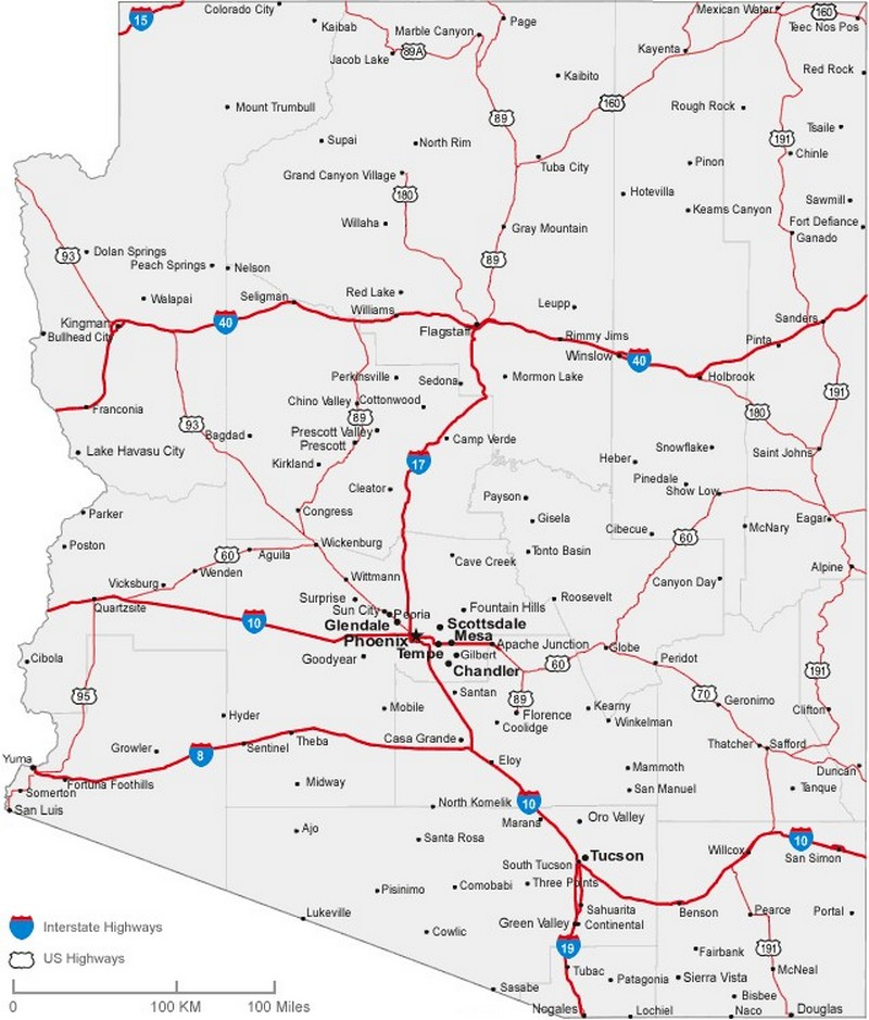 Arizona State Road Map with Census Information