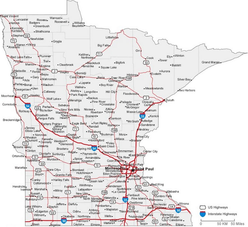 Minnesota State Road Map With Census Information