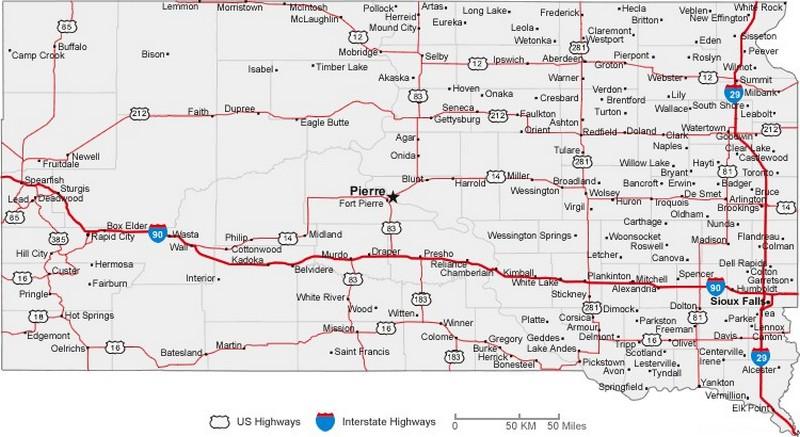 South Dakota State Road Map with Census Information – South Dakota Travel Map