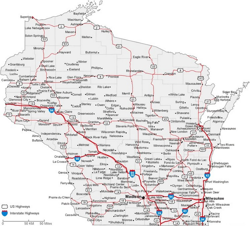 Wisconsin State Road Map With Census Information - Wi road map