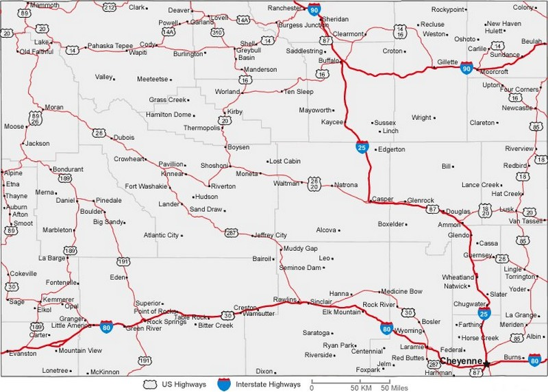 Wyoming State Road Map With Census Information