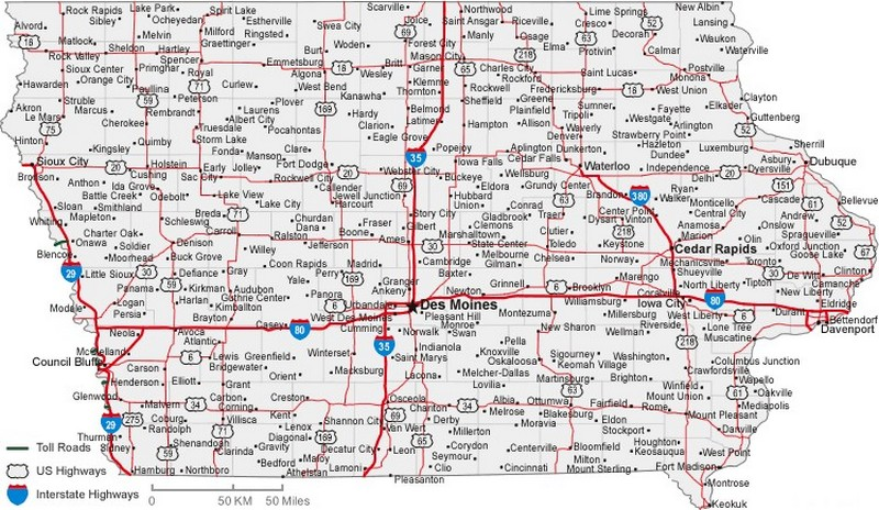 Iowa State Road Map with Census Information