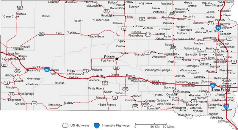 South Dakota State Road Map With Census Information